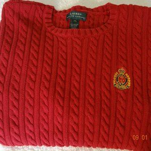Ralph Lauren Red Ribbed Sweater XL